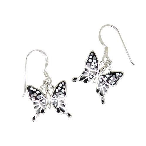 Black Lip Mosaic Butterfly Earrings