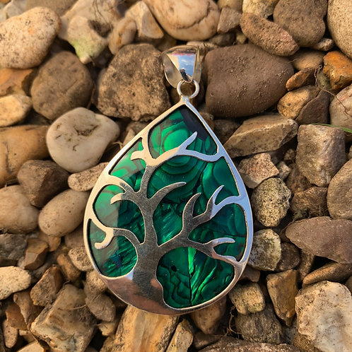 Abalone Green Tree of Life Pendant