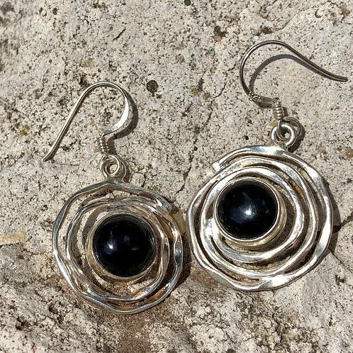 Onyx Saturn Earrings