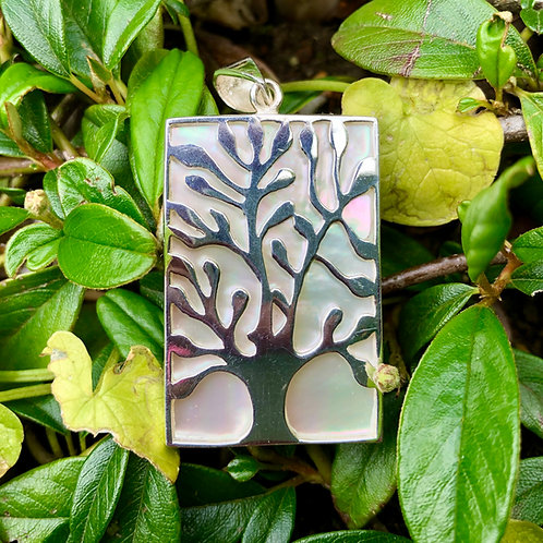 Mother of Pearl Rectangular Tree of Life Pendant