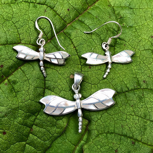 Mother of Pearl Mosaic Dragonfly Set