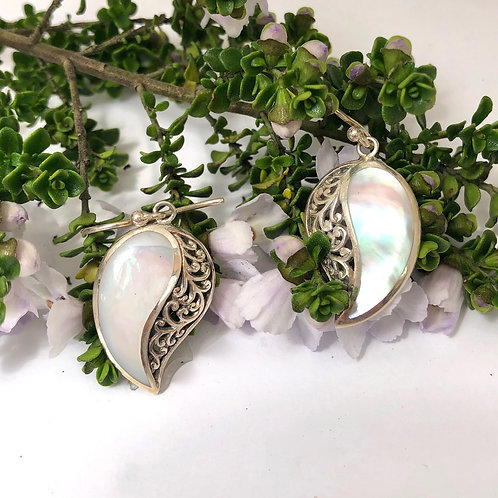 Mother of Pearl & Silver Filigree Comma Earrings