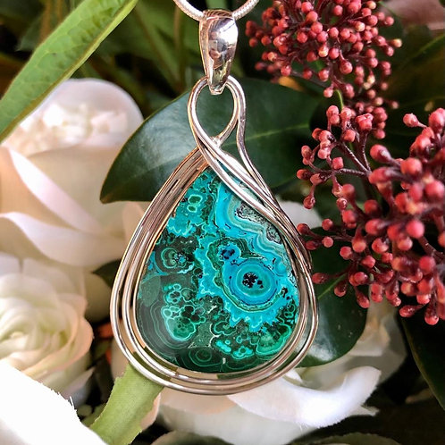 Chrysocolla Malachite Double Loop Pendant