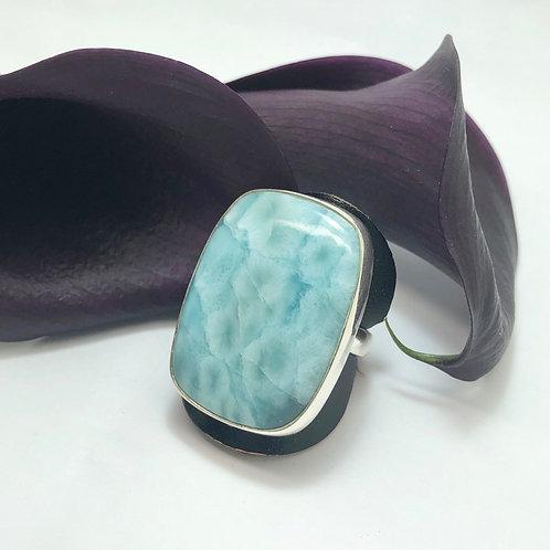Larimar Rectangular Adjustable Silver Ring