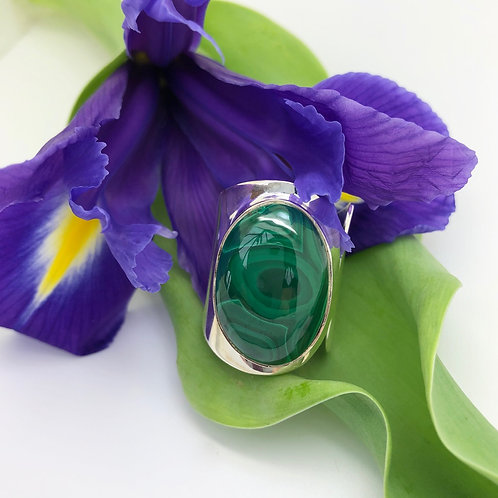 Malachite Large Adjustable Silver Ring