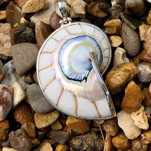 Nautilus Shell White Pendant