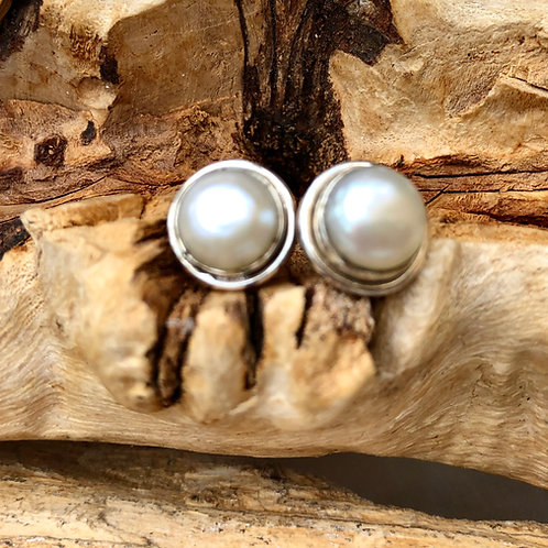 Pearl Studs with Silver Surround