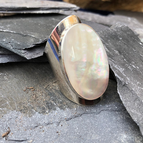 Mother of Pearl Long Oval Adjustable Silver Ring
