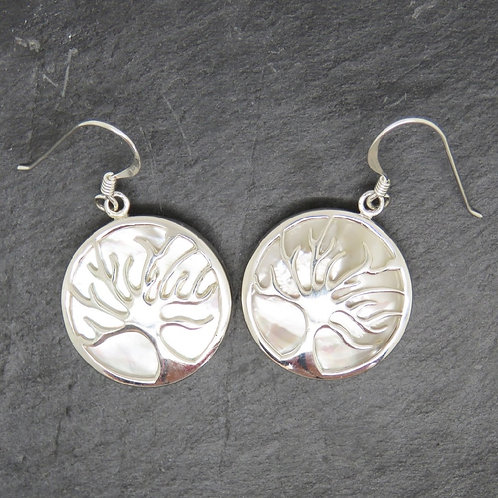 Mother of Pearl Tree of Life Circular Earrings
