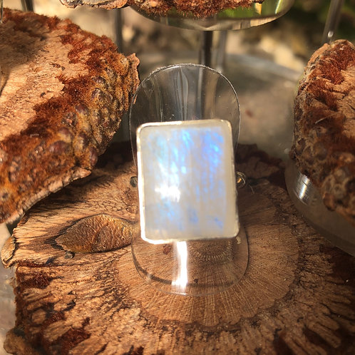 Moonstone Rectangular Adjustable Silver Ring