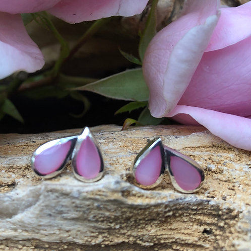 Mother of Pearl Pink Heart Studs