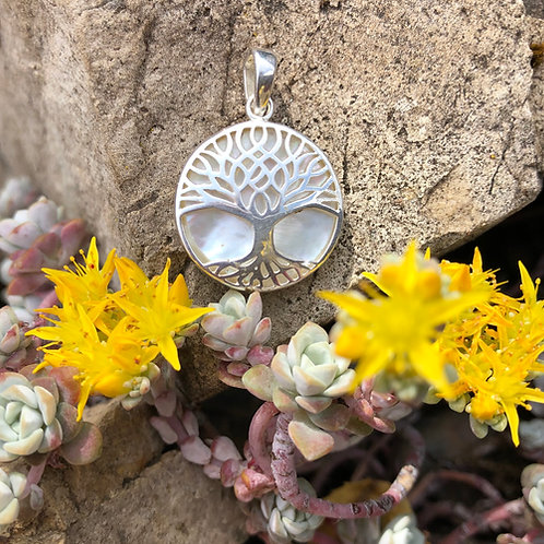 Mother of Pearl Circular Small Tree of Life Pendant