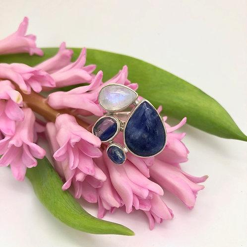 Lapis Lazuli, Moonstone & Kyanite Ring
