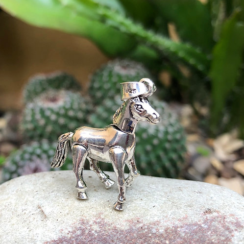 Silver Moving Horse Pendant