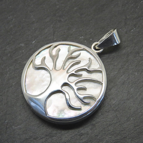 Mother of Pearl Tree of Life Circular Pendant