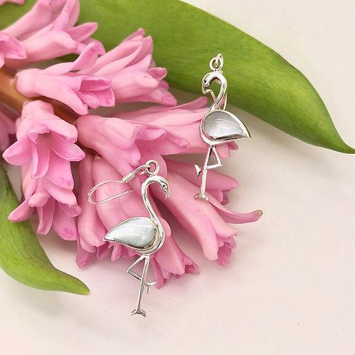 Mother of Pearl Flamingo Earrings