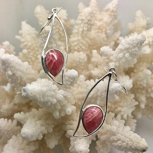 Rhodochrosite Wave Earrings