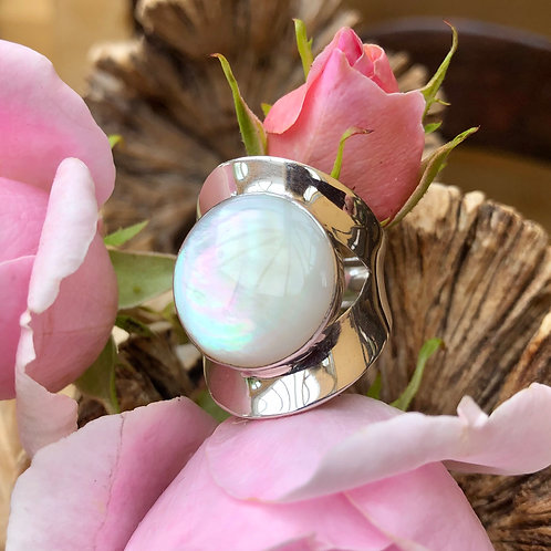 Mother of Pearl Circular Adjustable Silver Ring