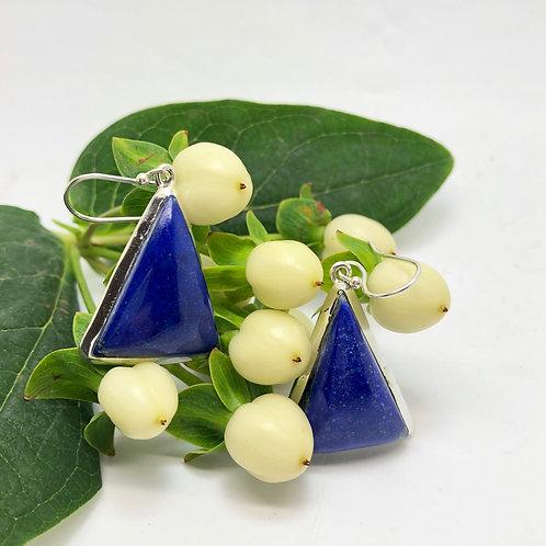 Lapis Lazuli Triangular Earrings