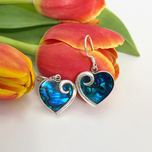 Abalone Blue Heart Earrings