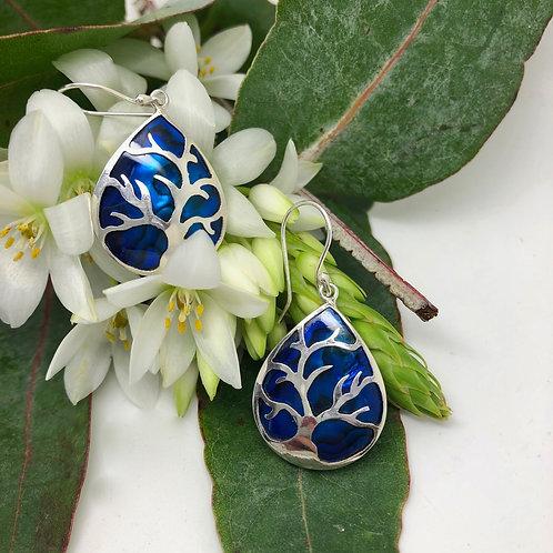 Abalone Blue Tree of Life Earrings