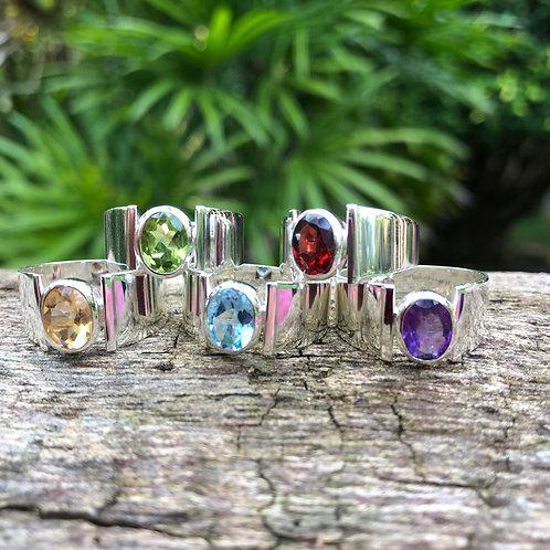 Silver Ring with Semi-Precious Stone
