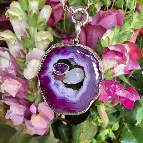 Purple Druzy with Amethyst & Moonstone