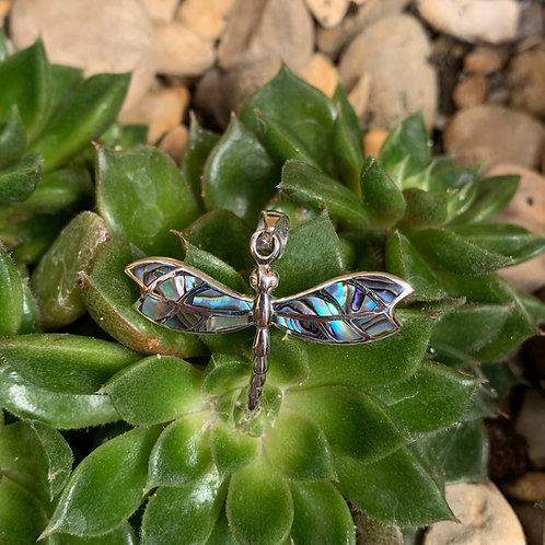 Abalone Mosaic Dragonfly Pendant