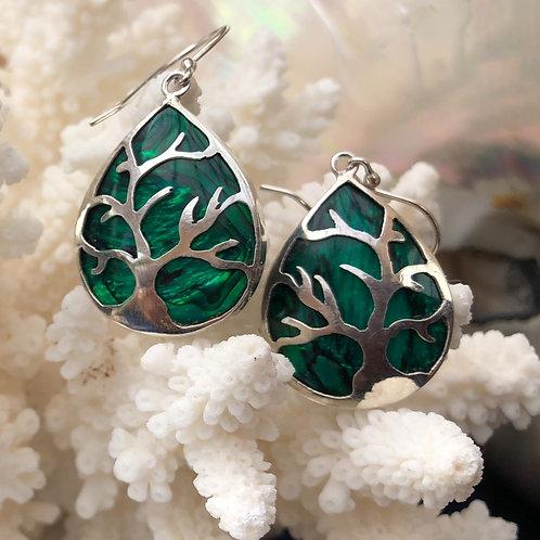 Abalone Green Tree of Life Earrings