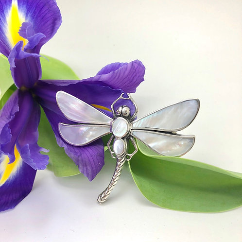 Mother of Pearl Dragonfly Brooch