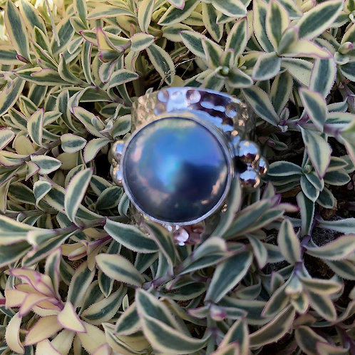 Blue Mabe Hammered Silver Ring