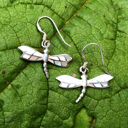 Mother of Pearl Mosaic Dragonfly Earrings