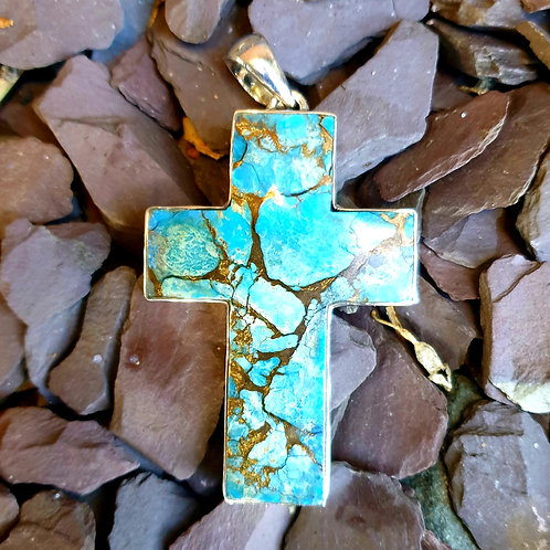 Turquoise Mohave Cross Pendant