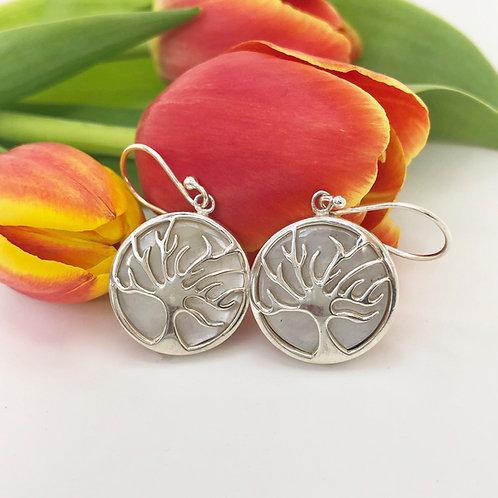 Mother of Pearl Tree of Life Circular Earrings