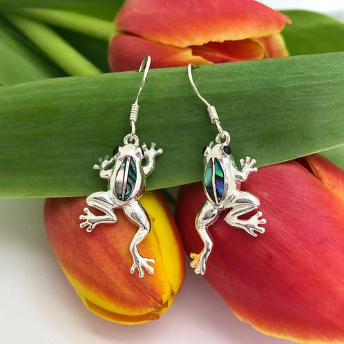 Abalone Frog Earrings