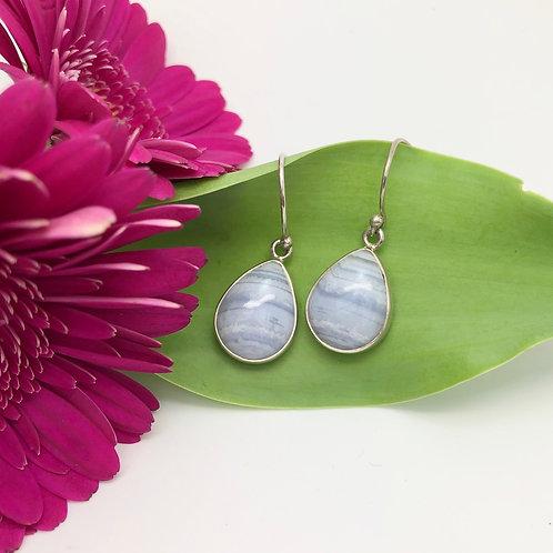 Blue Lace Agate Small Teardrop Earrings