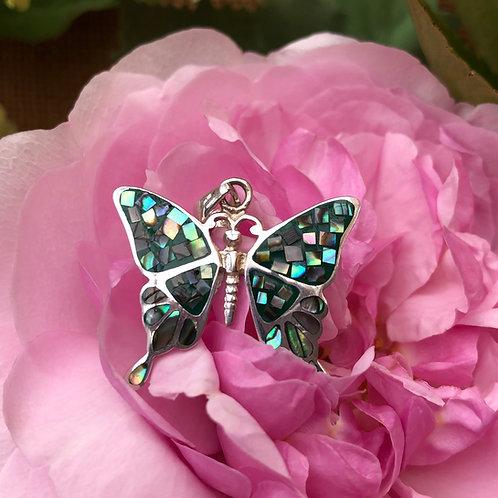 Abalone Mosaic Butterfly Pendant