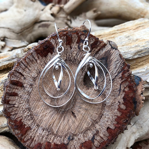 3 Tier Silver Teardrop Earrings