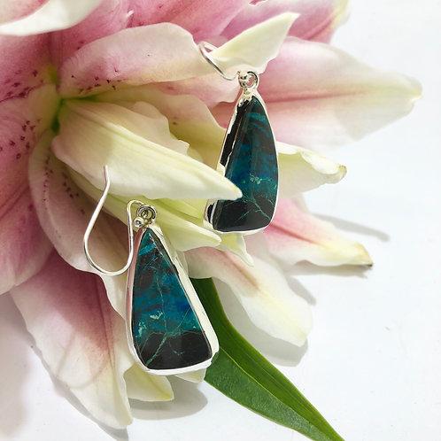 Shattuckite Triangular Earrings