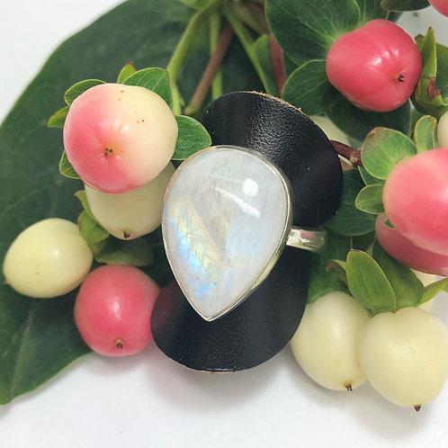 Moonstone Teardrop Adjustable Silver Ring