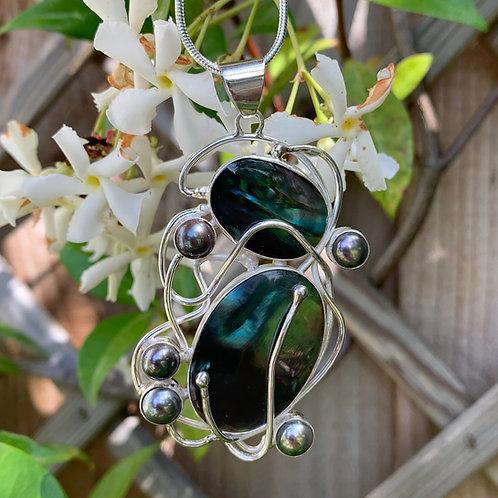 Black Lip Shell, Grey Pearl & Silver Pendant
