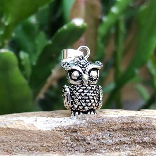 Silver Moving Owl Pendant