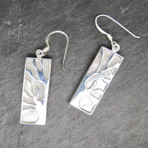 Mother of Pearl Tree of Life Rectangular Earrings