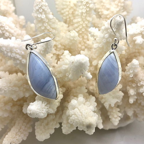 Blue Lace Agate Freeform Earrings