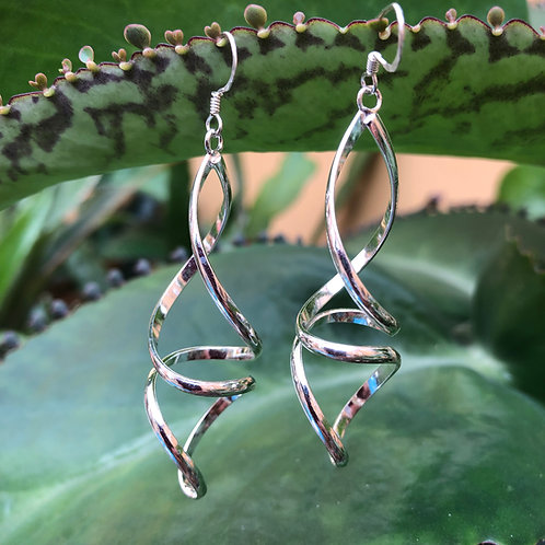 Silver Swirly Long Earrings