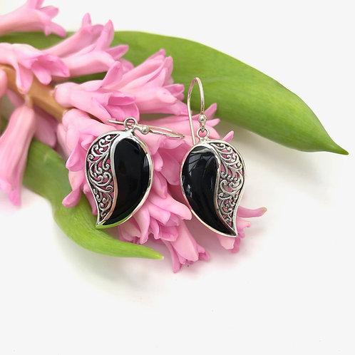Black & Silver Filigree Comma Earrings