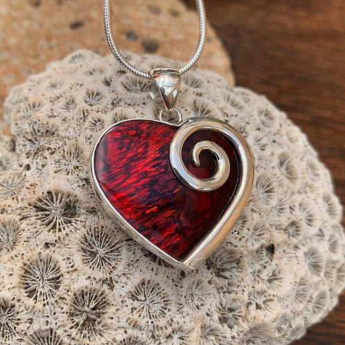 Abalone Red Heart Pendant