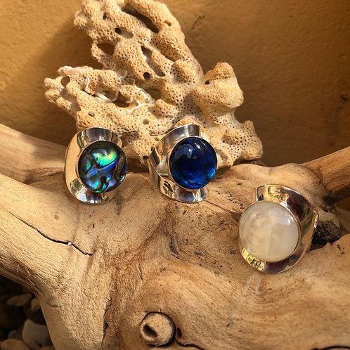 Abalone Blue Circular Adjustable Silver Ring