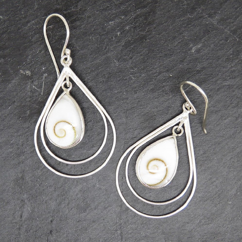 Shiva Shell & Silver Loop Earrings