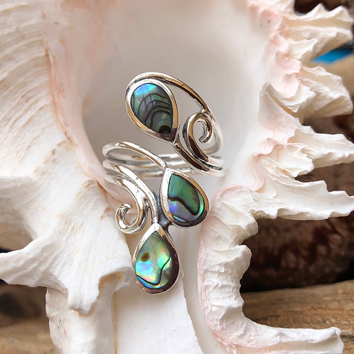 3 Tier Abalone Adjustable Silver Ring